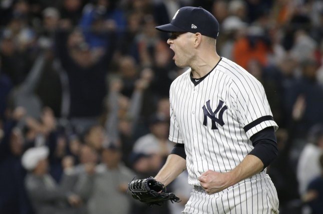 New York Yankees pitcher James Paxton reacts after the final out in the sixth inning in Game 5 of the American League Championship Series on Friday night at Yankee Stadium in New York City. Photo by John Angelillo/UPI