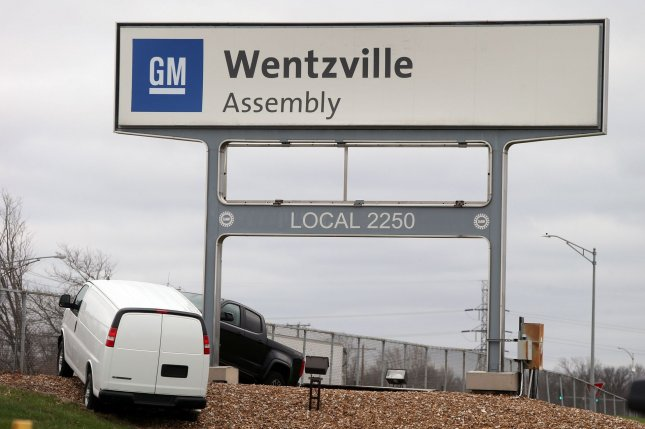 General Motors shut down production on mid-size pickup trucks at its Wentzville, Mo., plant due to a semiconductor chip shortage. File Photo by Bill Greenblatt/UPI