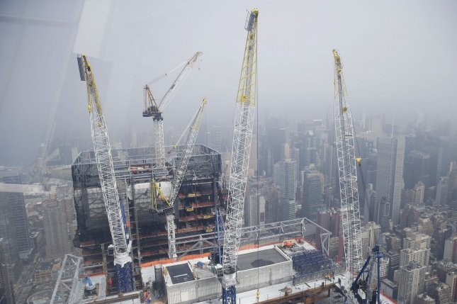Cranes are visible from the Edge observation and outdoor sky deck as construction continues around Hudson Yards in New York City on March 25. File Photo by John Angelillo/UPI