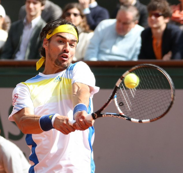 Fabio Fognini, shown at the 2013 French Open, posted a first-round win Monday at the ATP's Valencia Open. UPI/David Silpa