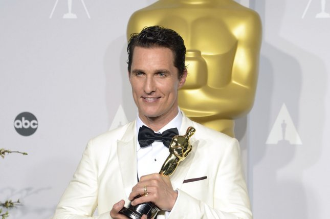 Matthew McConaughey, winner of best actor for Dallas Buyers Club poses with his Oscar backstage during the 86th Academy Awards at the Hollywood & Highland Center on March 2, 2014 in the Hollywood section of Los Angeles. UPI/Phil McCarten