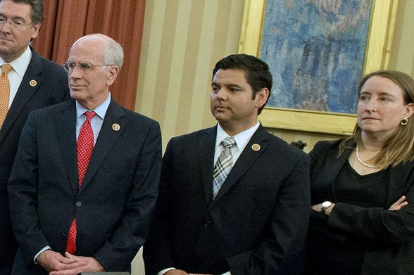 Rep. Raul Ruiz, D-Calif., (center), with Rep. Peter Welch, D-Vt., and Nancy Goodman, Founder and Executive Director, Kids v Cancer. UPI/Ron Sachs/Pool
