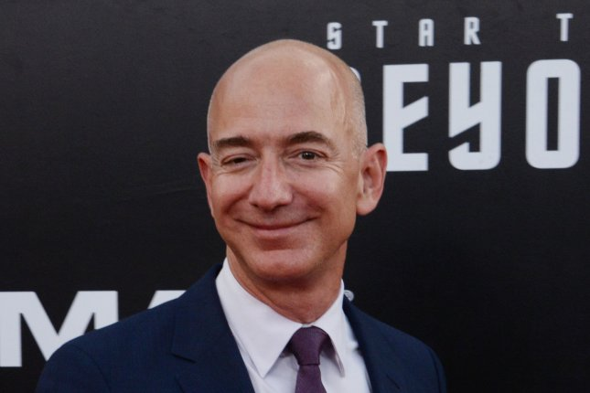 Amazon founder and CEO Jeff Bezos, seen here on July 20, became the world's third richest person after the company posted record second-quarter earnings. Photo by Jim Ruymen/UPI