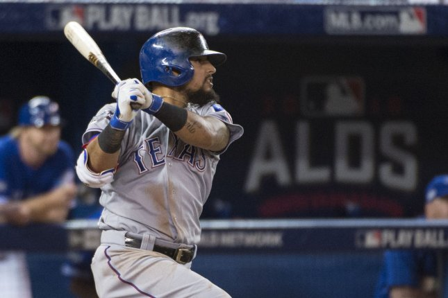 Texas Rangers' Rougned Odor hits a home run. File photo by Darren Calabrese/UPI