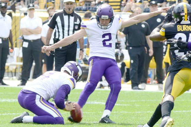 Minnesota Vikings kicker Kai Forbath (2) with Minnesota Vikings punter Ryan Quigley (4) holding kicks a 42 yard field goal in the second quarter of the Steelers home opener at Heinz Field on September 17, 2017 in Pittsburgh. File photo by Archie Carpenter/UPI