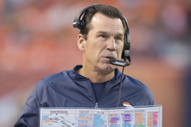 Former Denver Broncos head coach Gary Kubiak had a 5-2 mark in the playoffs, guiding the Broncos to a Super Bowl win in the 2015-16 season. File Photo by Gary C. Caskey/UPI