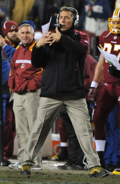 Head Coach Jim Zorn leads the Washington Redskins against the New York Giants, Dec. 21, 2009. UPI Photo/Kevin Dietsch