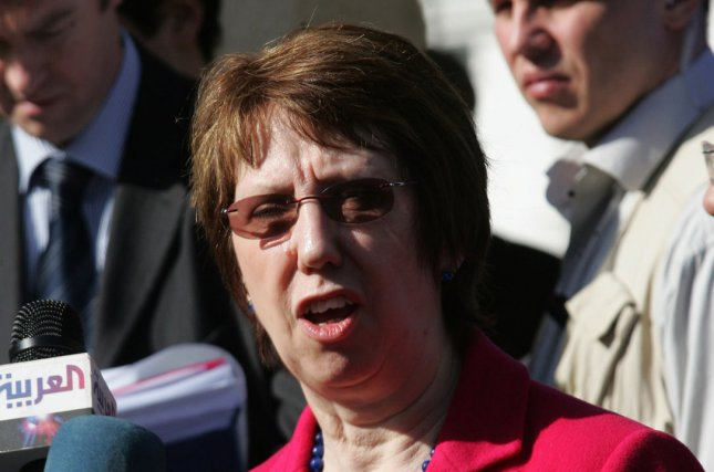 The European Union foreign policy chief Catherine Ashton speaks at a press conference in 2012. (UPI/Ismael Mohamad)