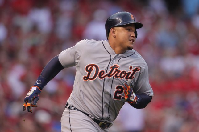 Detroit Tigers' Miguel Cabrera rounds a base. File photo by Bill Greenblatt/UPI