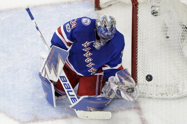 New York Rangers goaltender Henrik Lundqvist protects the goal in the third period against the Montreal Canadiens on April 18, 2017 at Madison Square Garden in New York City. File photo by John Angelillo/UPI