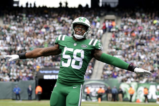 The New York Jets are expected to decline the fifth-year contract option of linebacker Darron Lee. Lee will become an unrestricted free agent after the 2019 season. File Photo by John Angelillo/UPI