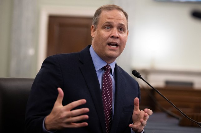NASA Administrator Jim Bridenstine testifies about NASA missions before the Senate Commerce, Science and Transportation committee Wednesday in Washington, D.C. Pool Photo by Graeme Jennings/UPI