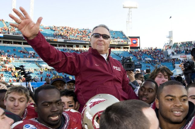 Former Florida State head coach Bobby Bowden, who ranks second on the all-time wins list, believes he contracted the coronavirus when he was at the hospital for a leg infection. File Photo by Mark Wallheiser/UPI