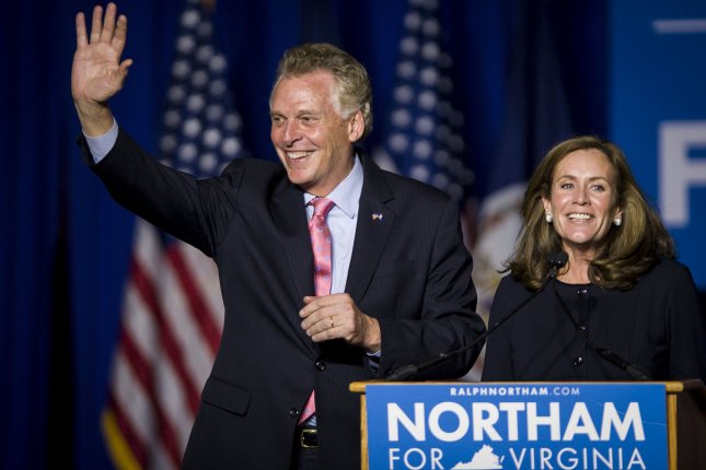 Then-Virginia Gov. Terry McAuliffe is seen during an address at George Mason University in Fairfax, Va., on November 7, 2017. Tuesday, he won the Democratic Party's nomination for governor in the November 2 election. File Photo by Pete Marovich/UPI