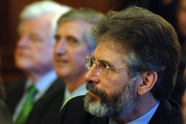 Sen. Edward Kennedy (D-MA), White House Advisor Carl Rove and Sinn Fein President Gerry Adams (L TO R) attend the annual St. Patrick's Day Luncheon at the U.S. Capitol in Washington on March 16, 2006. (UPI Photo/Roger L. Wollenberg)