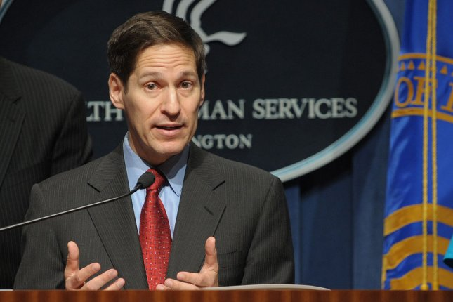 Centers for Disease Control and Prevention Director Thomas Frieden speaks during a news conference at HHS headquarters in Washington. UPI Photo/Roger L. Wollenberg