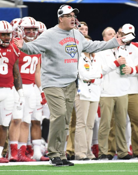 Paul Chryst and the Wisconsin Badgers square off with the BYU Cougars on Saturday. Photo by Ian Halprin/UPI ....