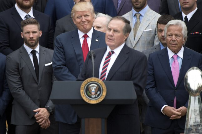New England Patriots coach Bill Belichick delivers remarks as President Donald Trump smiles, during a ceremony where Trump honored the Super Bowl LI Champions New England Patriots at the White House in 2017 in Washington, D.C. Photo by Kevin Dietsch/UPI