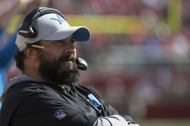 Detroit Lions head coach Matt Patricia watches his team against the San Francisco 49ers in the fourth quarter on September 16, 2018 at Levi's Stadium in Santa Clara, California. Photo by Terry Schmitt/UPI