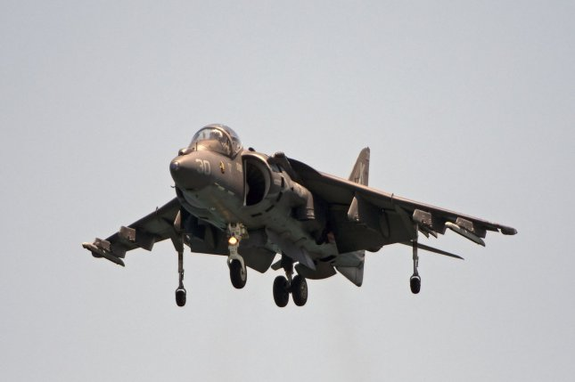 BAE Systems and Vertex Aerospace have landed a contract to maintain the Marine Corps' fleet of AV-8B Harrier IIs, one of which is pictured in 2016 at the Fort Lauderdale Air Show. File Photo by Joe Marino-Bill Cantrell/UPI