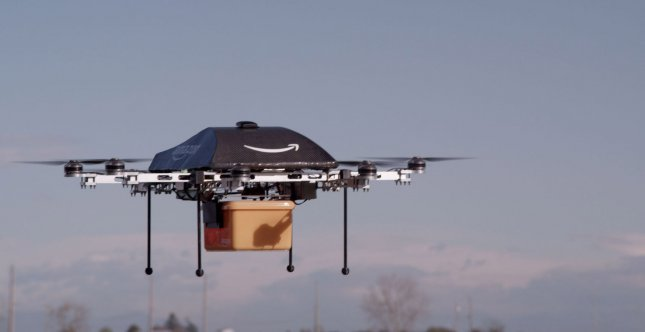This undated Amazon.com image shows a prototype of their Prime Air delivery drone which Amazon hopes to use to deliver packages to customers in as little as 30 minutes, Dec. 2, 2013. Amazon CEO Jeff Bezos said putting the Prime Air feture into commercial use will take some number of years as Amazon develops technology and waits for the Federal Aviation Administration to create guidelines. UPI/Amazon