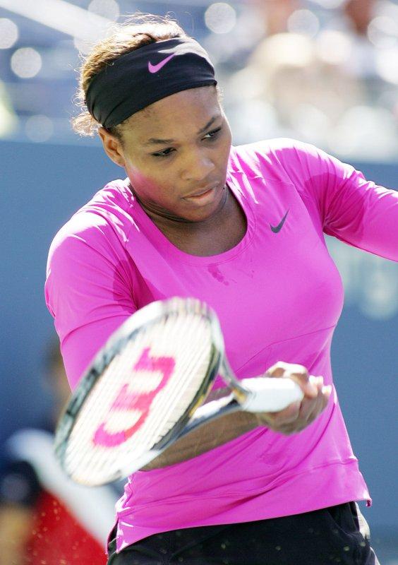 Serena Williams returns a shot at at the U.. Open Sept. 14, 2009. UPI /Monika Graff .