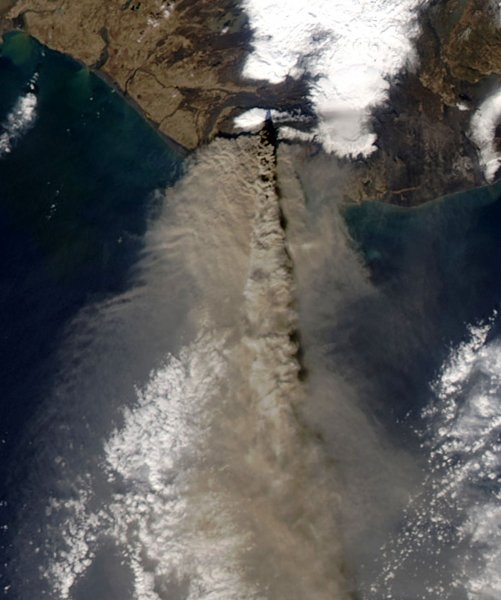 Thick ash poured from Iceland Eyjafjallajškull volcano when the Moderate Resolution Imaging Spectroradiometer (MODIS) on NASA's Aqua satellite acquired this image on April 17, 2010. The ash in this image is at two different altitudes. A concentrated plume rises over a more diffuse cloud of ash, casting a dark shadow on the ash below. The volcano had been emitting ash in puffs that reached between 16,000 and 24,000 feet, according to the Icelandic Met Office. The higher plume seen here is likely from a more explosive event. UPI/NASA
