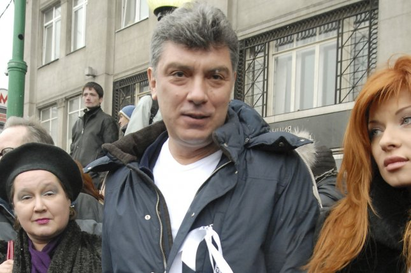 Opposition leader Boris Nemtsov, center, was shot dead Saturday. File photo by UPI
