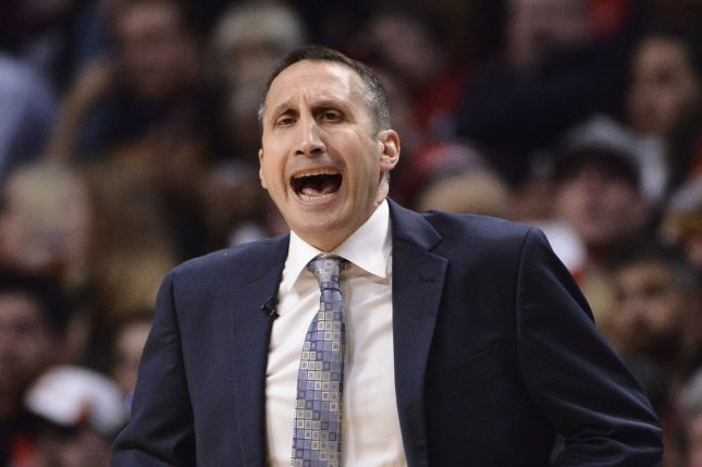 Former Cleveland Cavaliers head coach David Blatt yells during the second quarter of game 6 of the Eastern Conference Semifinals of the NBA Playoffs against the Chicago Bulls at the United Center on May 14, 2015 in Chicago. The Cavaliers defeated the Bulls 94-73, winning the series 4-2 and advancing the the Eastern Conference Finals. Photo by Brian Kersey/UPI