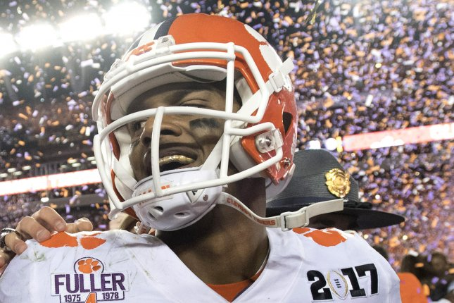 Clemson Tigers quarterback Deshaun Watson (4) celebrates after Clemson defeated Alabama Crimson Tide 35-31 to win the 2017 College Football Playoff National Championship, in Tampa, Florida on January 10, 2017. Watson is a top prospect in the 2017 NFL Draft. Photo by Kevin Dietsch/UPI