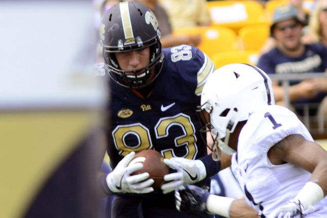 Pittsburgh Panthers tight end Scott Orndoff (83) pulls in a touchdown pass with Penn State Nittany Lions cornerback Christian Campbell (1) in coverage on September 10 at Heinz Field in Pittsburgh, Pa.. File photo by Archie Carpenter/UPI