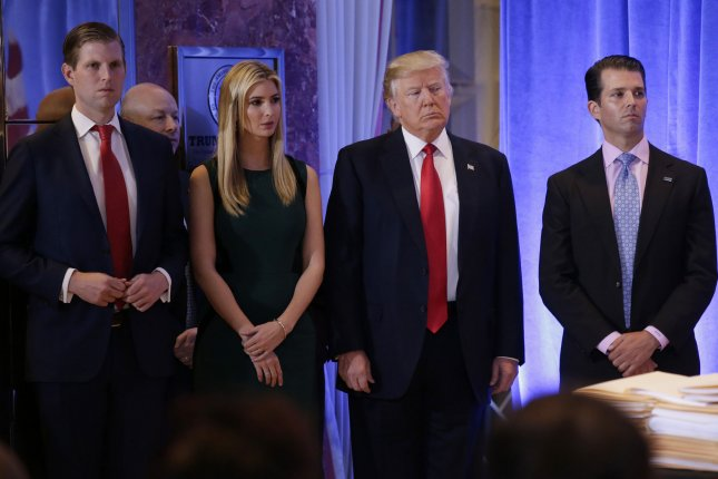 New York's attorney general filed a $2.8 million lawsuit Thursday against the Donald Trump Foundation, President Donald Trump, Ivanka Trump, Donald Trump Jr. (R) and Eric Trump. File photo by John Angelillo/UPI