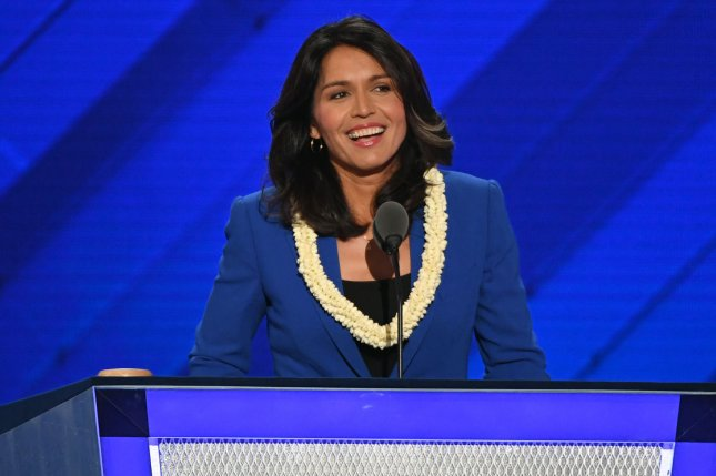 Rep. Tulsi Gabbard, D-Hawaii, promised to make healthcare, criminal justice reform and climate change key concerns for her campaign. File Photo by Pat Benic/UPI