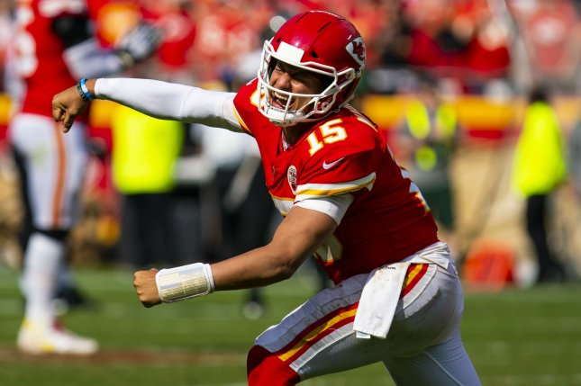 Kansas City Chiefs quarterback Patrick Mahomes threw four touchdowns in the first half Sunday against the Houston Texans. File Photo by Kyle Rivas/UPI