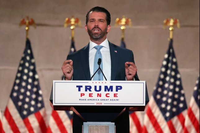 Donald Trump Jr. pre-records his address to the Republican National Convention at the Mellon Auditorium on August 24 in Washington, D.C. He tested positive for COVID-19 earlier this week and has been isolating at his cabin, his spokesman said. File Photo by Chip Somodevilla/UPI