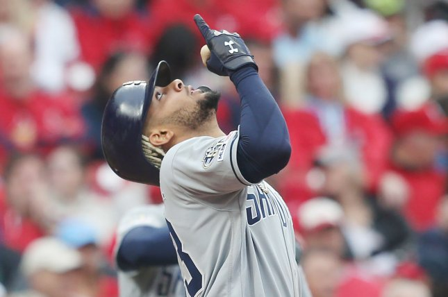 San Diego Padres shortstop Fernando Tatis Jr. was put on the 10-day IL after injuring his left shoulder during a game against the San Francisco Giants on April 5. File Photo by Bill Greenblatt/UPI