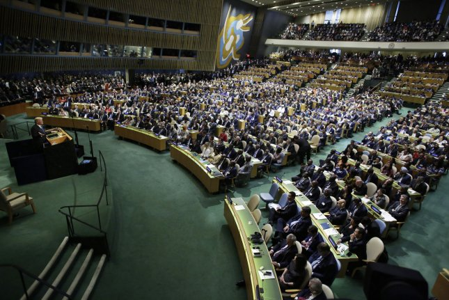 United States President Donald Trump speaks at the 72nd General Debate at the United Nations General Assembly at U.N. Headquarters at GA Hall in New York on Tuesday. North Korean Ambassador Ja Song Nam left the hall before Trump delivered his speech. Photo by John Angelillo/UPI