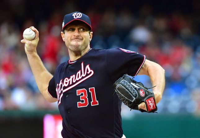 Max Scherzer and the Washington Nationals square off with the San Francisco Giants on Sunday. Photo by Kevin Dietsch/UPI