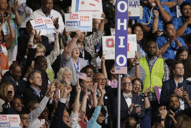 Ohio delegates cheer at the Democratic National Convention in Philadelphia on July 26, 2016. Monday, the U.S. Supreme Court ruled the state of Ohio can lawfully purge the names of inactive voters from its registration rolls. File Photo by Ray Stubblebine/UPI