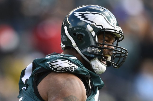 Former Philadelphia Eagles defensive end Michael Bennett (77) was indicted last March for an alleged incident involving a 66-year-old paraplegic woman. Harris County prosecutors moved to dismiss the case Wednesday. File Photo by Derik Hamilton/UPI