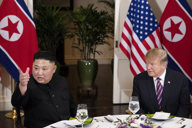 President Donald J. Trump and Kim Jong Un, Chairman of the State Affairs Commission of the Democratic People's Republic of Korea meet for a social dinner, on Feb. 27, at the Sofitel Legend Metropole hotel in Hanoi, for their second summit meeting. White House Photo by Joyce N. Boghosian/UPI