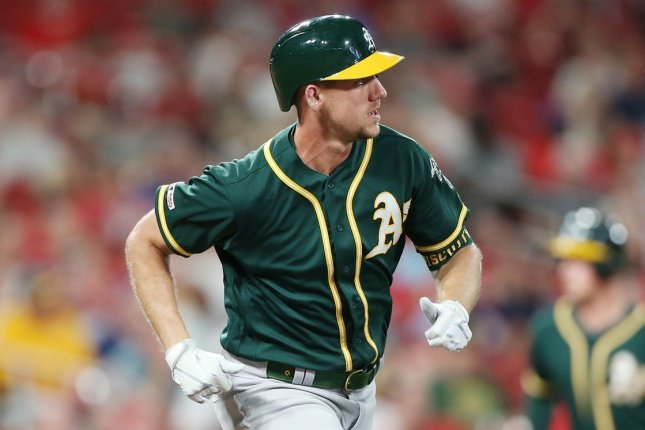 Oakland Athletics outfielder Stephen Piscotty went 2 for 3 with four RBIs and a run scored to help his team beat the Texas Rangers on Tuesday in Oakland, Calif. File Photo by Bill Greenblatt/UPI