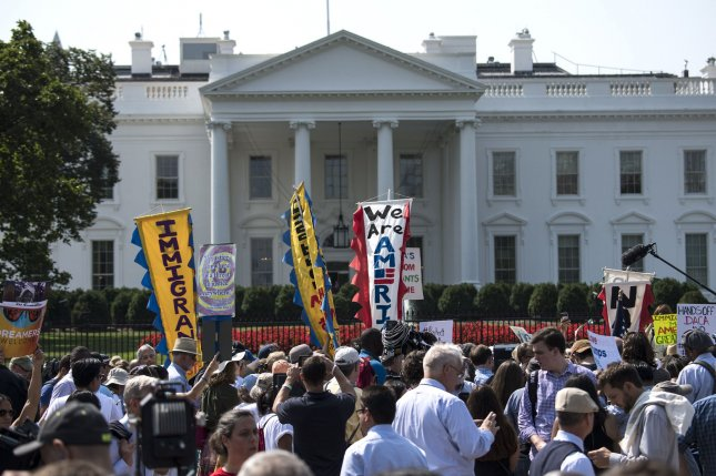 Activists protest the immigration policies of the Trump administration on the north side of the White House in Washington, D.C. File Photo by Kevin Dietsch/UPI