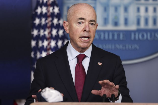 Homeland Security Secretary Alejandro Mayorkas talks to reporters during the daily press briefing in the Brady Press Briefing Room of the White House on Monday. Pool Photo by Oliver Contreras/UPI
