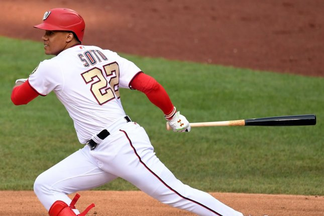 Juan Soto and the Washington Nationals are scheduled to start the season with a game against the Atlanta Braves at 4:05 p.m. EDT Tuesday in Washington, D.C. File Photo by Kevin Dietsch/UPI