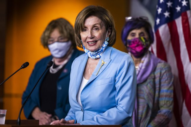 Speaker of the House Nancy Pelosi speaks Wednesday at a news conference on the Democrats' push for a bipartisan 9/11-style commission to investigate the January 6 attack on the Capitol. Pool Photo by Jim Lo Scalzo/UPI