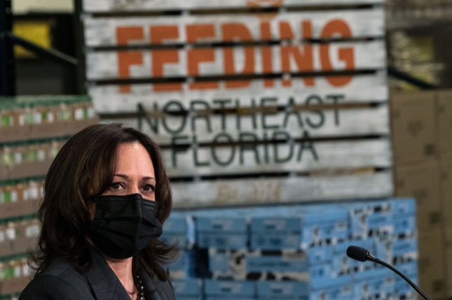Vice President Kamala Harris participates in a roundtable discussion on food insecurity in the wake of the COVID-19 pandemic at Feeding Northeast Florida in Jacksonville, Fla., on March 22. File Photo by Kevin Dietsch/UPI