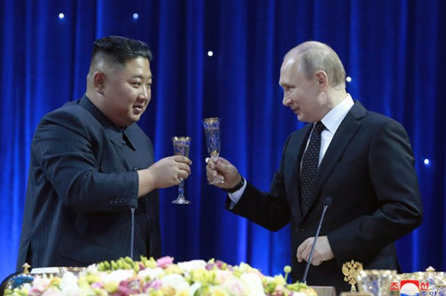 """North Korea's foreign ministry said Tuesday that the April 2019 summit between Kim Jong Un and Russian President Vladimir Putin was a """"historic reunion."""" File Photo by KCNA/UPI"""