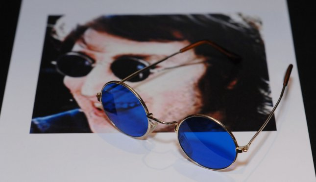 John Lennon sunglasses is displayed at the Hard Rock Cafe in London on April 11, 2007. It will be at the Icons Of Music auction at Hard Rock Cafe in New York on April 21. The proceeds will go to musicians of the Gulf Coast region who lost their livelihood after Hurricane Katrina. (UPI Photo/Rune Hellestad)