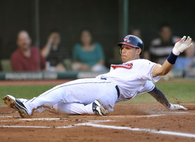 Cleveland Indians' Asdrubal Cabrera scores on a sacrifice fly in the first inning against the New York Yankees in a baseball game at Progressive Field in Cleveland on July 29, 2010. UPI/David Richard